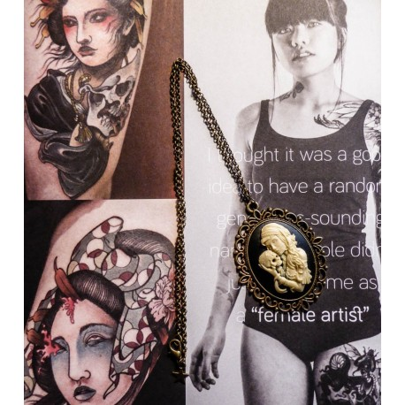 "Collier bronze camée femme Mexican Sugar Skulls calavera gypsy bohème ""Sleepy Hollow"""