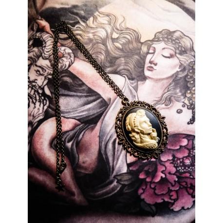 """Collier bronze camée femme Mexican Sugar Skulls calavera gypsy bohème """"Dia de los Muertos"""""""