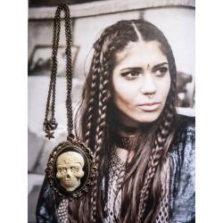 """Collier bronze camée femme Mexican Sugar Skulls calavera gypsy bohème """"Ghost Rider"""""""