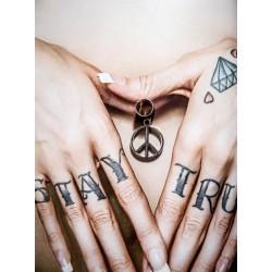 Bague d'oreille métal argenté pendentif Peace and Love Bohème Chic Indien
