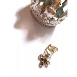 Bague d'oreille métal doré avec un pendentif Noeud