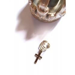 Bague d'oreille métal doré avec un pendentif Croix