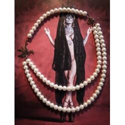 "Collier perles crème couleur bronze hirondelle steampunk ""Tattoo Bird"""