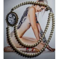 Collier perles crème bronze cabochon Alice aux pays des merveilles De l'autre côté du miroir ♠Cosy Time♠
