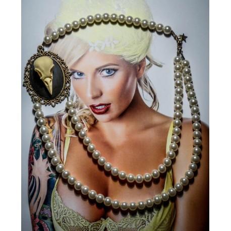 Collier perles crème double rang bronze camée gypsy bohème MC Ink ♰Moon Raven♰
