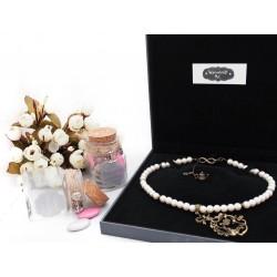 Collier perles crème couleur bronze Alice aux pays des Merveilles et montre