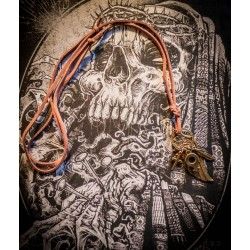 "Collier cuir bronze steampunk ""Man"""