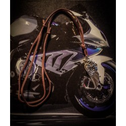 "Collier cuir argenté steampunk ""Motocycle"""