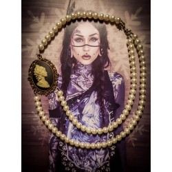 Collier perles crème bronze Mexican Sugar Skulls cavalera ♰Western Diligence♰