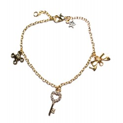 """Bracelet couleur doré """"Clef Strass"""""""