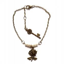 """Bracelet couleur bronze perles et clef """"Pearl & Rose"""""""