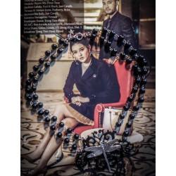Chapelet double rosaire argenté noir Mexican Sugar Skulls calavera gypsy bohème ♰Butterfly♰