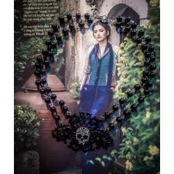Chapelet double rosaire argenté noir Mexican Sugar Skulls calavera gypsy bohème ♰Glitter Skulls♰