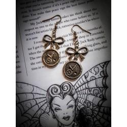 """Boucles d'oreilles couleur bronze """"Time"""""""
