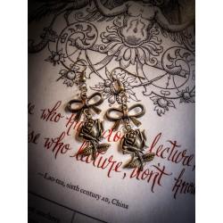 """Boucles d'oreilles couleur bronze """"Rose"""""""