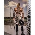 Collier sautoir cabochon feutrine argenté Boho Chic steampunk ankh égyptien ☥ Pirate Skull ☥