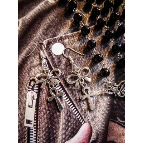 Boucles d'oreilles argentées Boho Chic egyptien ankh ☥ Pirate Skull ☥