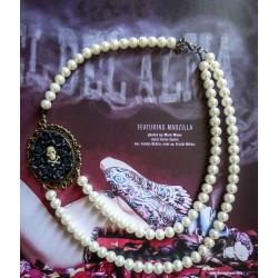 Collier perles crème bronze Mexican Sugar Skulls cavalera steampunk ♰Cupcake Skulls♰