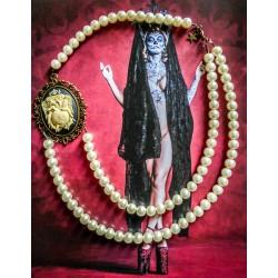 Collier perles crème bronze Mexican Sugar Skulls cavalera steampunk ♰No Regrets♰