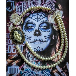 Collier perles crème bronze Mexican Sugar Skulls cavalera steampunk ♰Devil Girl♰