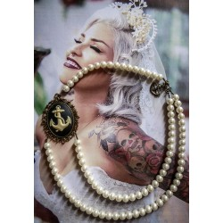 Collier perles crème bronze Mexican Sugar Skulls cavalera steampunk ♰Sailor Jerry♰