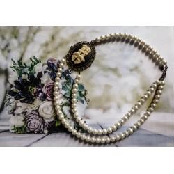 Collier perles crème bronze Mexican Sugar Skulls cavalera steampunk ♰Je ne regrette rien♰
