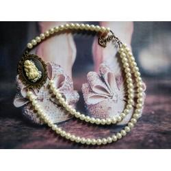 Collier perles crème bronze Mexican Sugar Skulls cavalera steampunk ♰La Petite Sirène♰