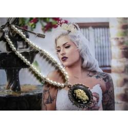 Collier perles crème argenté Boho Chic Pearl steampunk Star Wars ♰Amidala♰