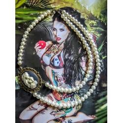 Collier perles crème bronze Mexican Sugar Skulls cavalera steampunk ♰Senorita♰