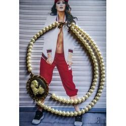 Collier perles crème bronze Mexican Sugar Skulls cavalera steampunk ♰Penelop♰