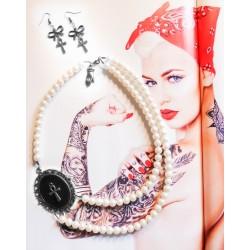 Collier perles crème argenté ankh égyptien steampunk ☥ Pirate Skull ☥