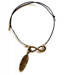 """Bracelet couleur bronze et cuir """"Infini"""""""