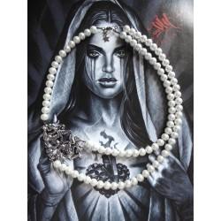 Collier perles crème couleur argent Game of Throne Mother of Dragon Khaleesi Daenerys Targaryen