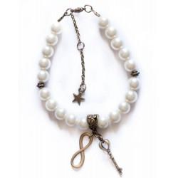 "Bracelet perles couleur bronze ""Pearl Bronze"""