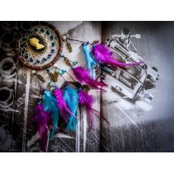 """Dreamcatcher attrape rêve bébé cadeau de naissance steampunk bronze plumes """"Western Diligence"""""""