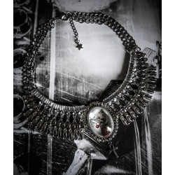 Collier plastron argenté camée chat goth punk steampunk ♰ Sailor Sphinx ♰