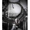 Collier plastron argenté camée chat goth punk steampunk ♰ Sailor Sphinx ♰