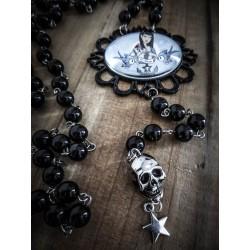 "Rosaire chapelet argenté perles noires Tokidoki ""Tattoo Bird"""