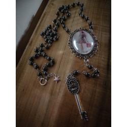 Rosaire chapelet argenté camée manga fantasy Tokidoki ♰ Pink Doll ♰