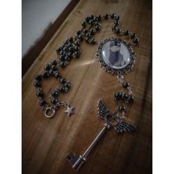 Chapelet rosaire argenté camée steampunk gypsy bohème ♰Thug Sphinx♰
