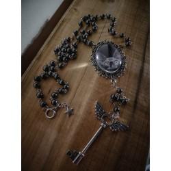 Chapelet rosaire argenté camée chat goth punk steampunk ♰ Black Sphinx ♰
