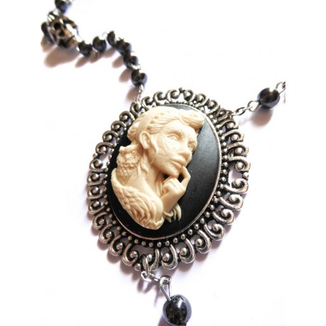 "Chapelet rosaire perles noires camée femme Mexican Sugar Skulls calavera gypsy bohème ""Dia de los Muertos"""