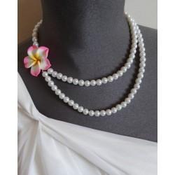 """Collier perles crème couleur argent orchidée """"Bora Bora"""""""