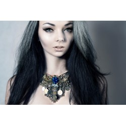 "Collier bronze doré vieilli plastron dentelle Indian Dream Gypsy Boho Chic ""Turquoise King Phoenix"""
