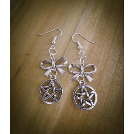 """Boucles d'oreilles argentées noeud ésotérique """"666 Pentagram 666"""""""