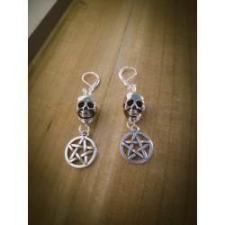 """Boucles d'oreilles argentées ésotérique skulls """"666 Pentagram 666"""""""