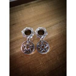 Plug expander laiton 8 mm argenté goth esoterique ♠ 666 Pentagram 666♠