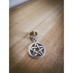 """Bague d'oreille argenté steampunk Silver """"666 Pentagram 666"""""""