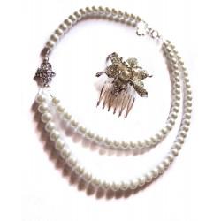 """Collier perles crème couleur argent strass """"Hamsa"""""""
