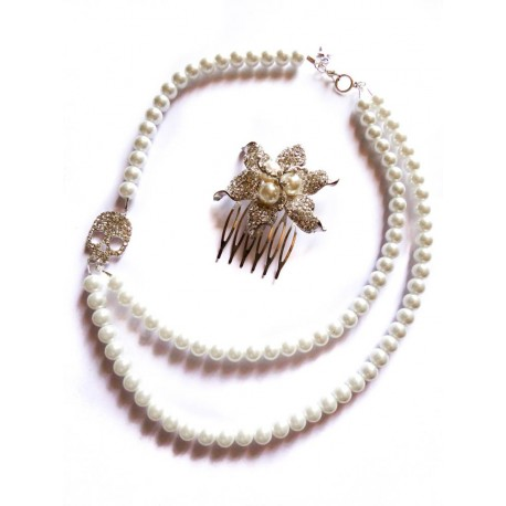 """Collier perles crème couleur argent strass """"Skulls"""""""